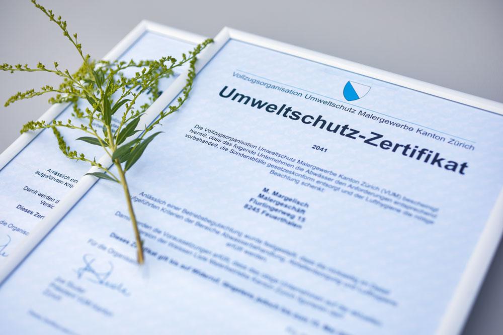 Umweltschutz Zertifikat